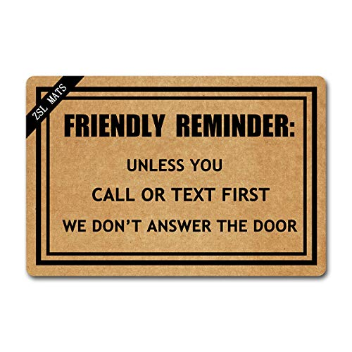 ZSL Funny Welcome Mats Friendly Reminder Anti-Slip Rubber Doormat with Personalized Design Entrance Way Indoor Doormat Kitchen mats and Rugs (23.6 X 15.7 in)]()