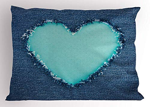 XGUPKL Navy and Teal Pillow Sham, Ripped Denim Jean Fabric Image Heart Shape Love Romance Valentines Day, Decorative Standard Queen Size Printed Pillowcase, 30 X 20 inches, Navy Blue Seafoam