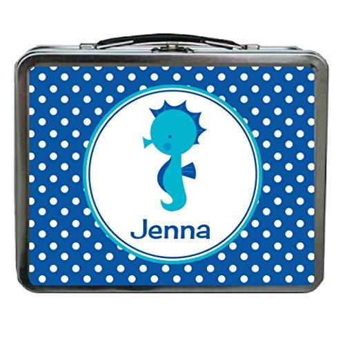 Dots Boxes Printable (Ooh La La Candle Co. Blue Dots Seahorse Personalized Aluminum Lunch Box)
