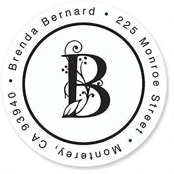 Return Address Label Sticker with Initial