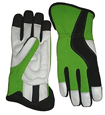 Heavy Duty Mechanic Work Green Gloves with Outstanding Protection, and Durability. Stylish Modern Look, All Sizes