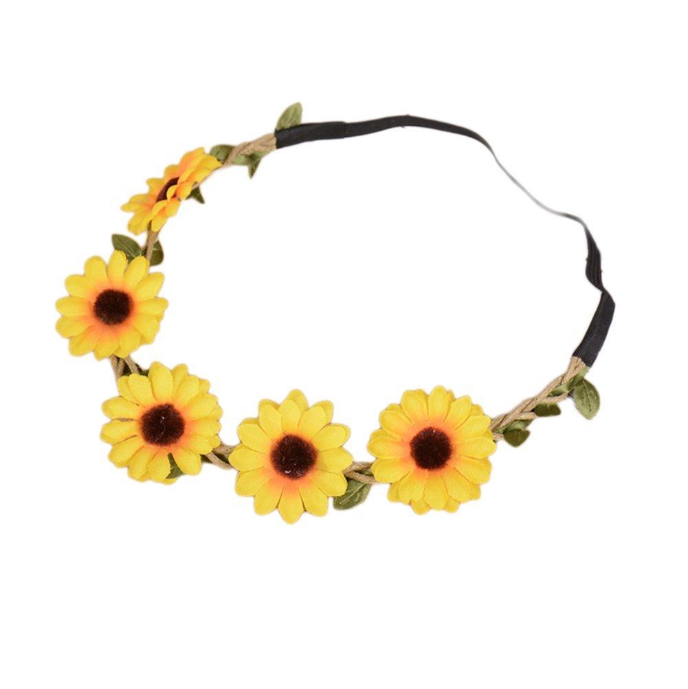Qingsun Girl Fashion Bohemian Flower Crown Sunflower Headbands Hair Band for Baby Hair Accessories