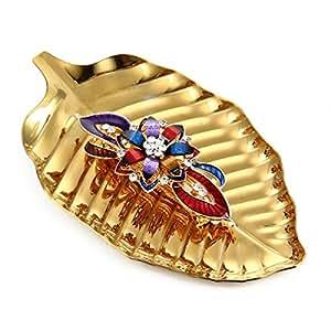 AOLVO - Bandeja de Acero Inoxidable con Forma de gallina Decorativa para Perfume, con Forma de Anillo y Llave de Fruta, Color Dorado