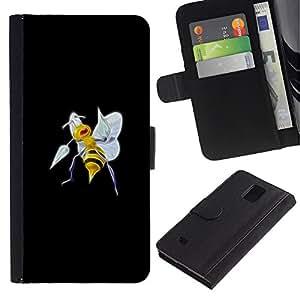 LECELL--Cuero de la tarjeta la carpeta del tirón Smartphone Slots Protección Holder For Samsung Galaxy Note 4 IV -- Beedrill P0kemon --