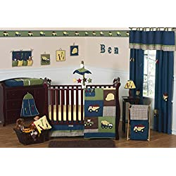 Construction Zone Blue Baby Boy Truck Bedding 11pc Crib Set without bumper
