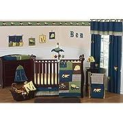 Sweet Jojo Designs 11-Piece Construction Zone Blue Baby Boy Truck Bedding Crib Set Without Bumper