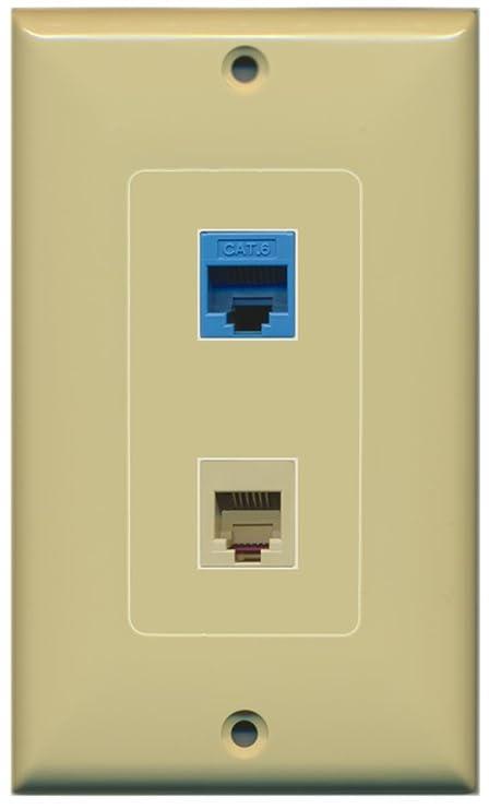 Pleasant Riteav 1 Port Phone Beige 1 Port Cat6 Ethernet Blue Decorative Wall Plate Ivory Wiring 101 Orsalhahutechinfo