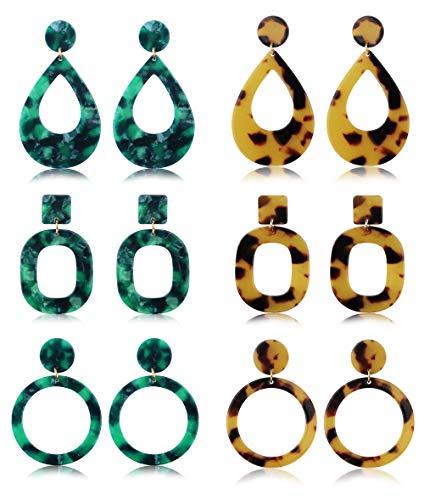 Besteel 6 Pcs Acrylic Drop Dangle Earrings for Women Girls Circle Hoop Teardrop Fashion Earring Set