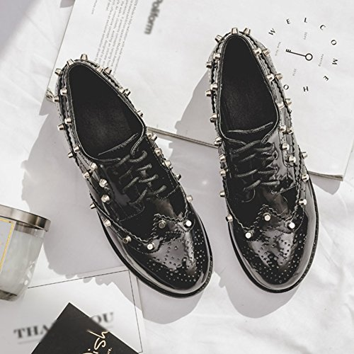 T-juli Damesmode Oxfords Schoenen - Performance Wingtip Lace-up Lage Hak Klinknagel Casual Schoenen Zwart