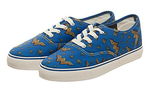DC Comics Wonder Woman Royal Blue/Gold Women's Lo Pro Shoes (10.5)