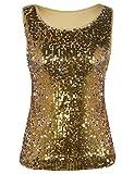 kayamiya Women's Tunic Tops Glitter Sleeveless Blouse Sequined Tank Tops Gold S/US 0-2