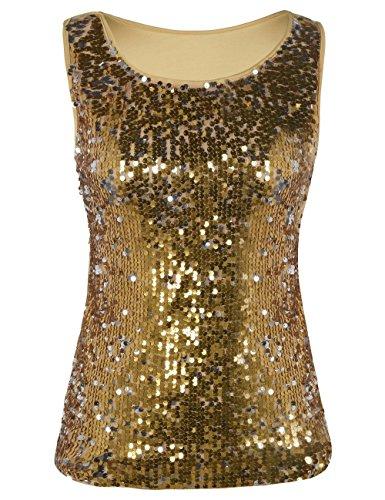 (kayamiya Women's Tunic Tops Glitter Sleeveless Blouse Sequined Tank Tops Gold XXL/US)