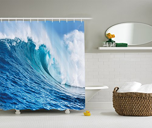 Ambesonne Ocean Decor Collection, Large Powerful Pacific Surf Sea Wave Crashes Hard Picture Print, Polyester Fabric Bathroom Shower Curtain Set with Hooks, 75 Inches Long, Blue Aqua -