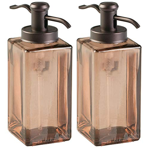 mDesign Liquid Hand Soap Glass Dispenser Pump Bottle for Kitchen, Bathroom | Also Can be Used for Hand Lotion & Essential Oils - Pack of 2, Square, Sand/Bronze