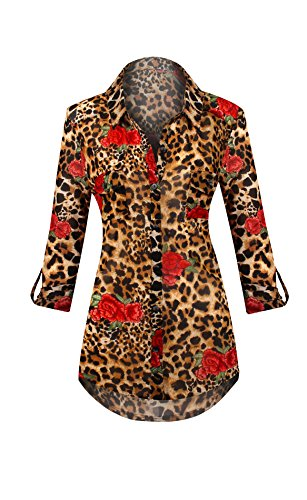 HOT FROM HOLLYWOOD Women's Button Up Sheer Floral Long Sleeve Cheetah Print Blouse Top - Floral Cheetah