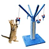 Cat Scratcher Tower Tall, Cat Scratch Toy for Large Cats, Best Indoor Scratcher Tower, Carpet Post Scratcher Tree, Blue Cat Scratcher & E-Book