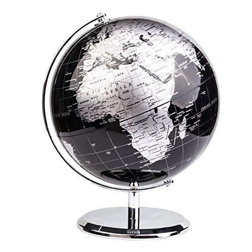 Exerz Metallic World Globe (Dia 8-Inch / 20cm) Black – Educational/Geographic/Modern Desktop Decoration - Stainless Steel Arc and Base/Earth World - Metallic Black - for School, Home, and -