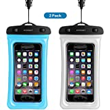 Floating Universal Waterproof Case,FITFORT IPX8 Waterproof Phone Pouch Fingerprints Available TPU Clear Dry Bag for iPhone X 8 7 6 Plus Galaxy Google Pixel HTC LG Sony (2-Pack)-Blue&Crystal