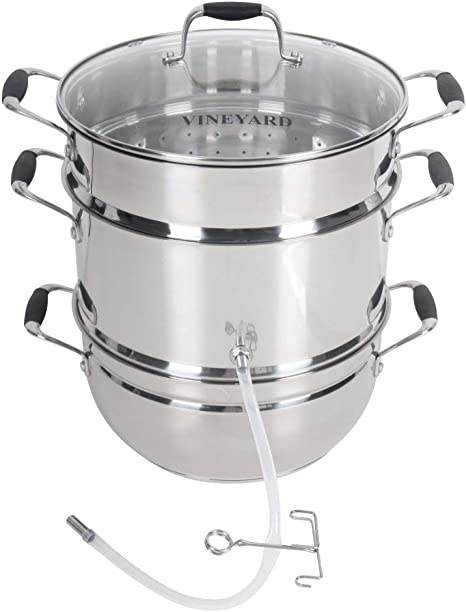 Aluminum Steam Juicer with Tempered Glass Lid by VICTORIO VKP1148