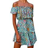 Women's Off Shoulder Sundress Summer Floral Boho Vintage Beach Swing Mini Dress Light Blue