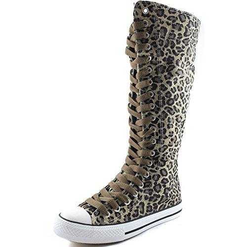 Botas Altas De Media Caña De Lona Para Mujer DailyZapatos Botas Altas De Caña Baja De Zapatillas De Deporte Casual, Botas De Leopardo, Encaje De Color Topo