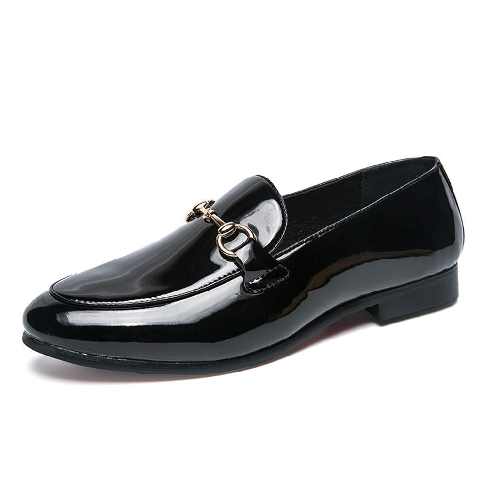 2018 Männer Einfarbig Komfortable Metallknopf Dekorative Lackleder Business Oxford Casual Casual Casual Klassische Formelle Schuhe (Farbe   Weiß, Größe   40 EU) (Farbe   Schwarz, Größe   39 EU) 8059f6