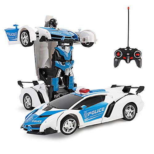 FIGROL Transform Car Robot, Robot Deformation Car Model Toy for Children, Transforming Robot Remote Control Car with One Button Transformation & Realistic Engine Sounds &360 Speed Drifting 1:18 Scale (Toys Boys Transformers)