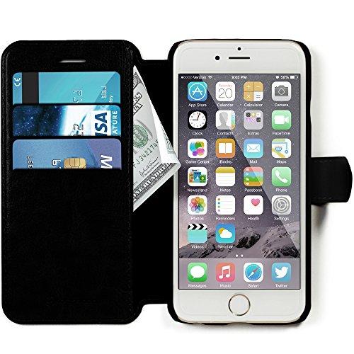 Lockwood iPhone 7 / 8 | Folio Wallet Card Case | Premium Faux Leather | Vintage Black | (4.7 Inch) | Ultra Slim & Light