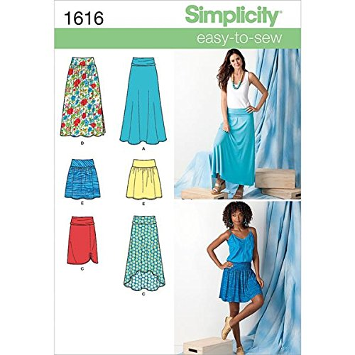 Simplicity Creative Patterns 1616 Misses' Knit or Woven Skirts, K5 (8-10-12-14-16) Bias Cut Elastic Waist Skirt