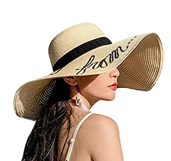 YASHIGE Womens Sun Straw Hat Wide Brim Floppy Foldable Adjustable Straw Weaved Travel Beach UV Summer Hat UPF50 - Beige - Medium