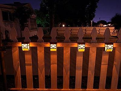 Upgrade Solar Powered Wall Mount Lights Landscape Garden Yard Fence Outdoor Warm Lights (8pc)