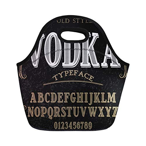 Semtomn Neoprene Lunch Tote Bag Vintage Alphabet Script Typeface Label Named Vodka Abc Alcohol Reusable Cooler Bags Insulated Thermal Picnic Handbag for Travel,School,Outdoors,Work