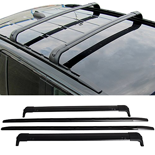 Roof Rack Cross Bars Fits 2006-2013 LAND ROVER RANGE ROVER SPORT HSE | Factory Style Aluminum Black Aluminum Roof Top Bar Luggage Carrier by IKON MOTORSPORTS | 2007 2008 2009 2010 2011 2012
