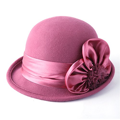 - TTjII Womens Flowers Church Bowler Hats Bucket Bell Shaped Cap 1920s Vintage 100% Wool Felt Cloche Hat Winter Cocktail Wide Brim Derby Wedding Hats Accessory (pink)