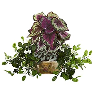 Nearly Natural 8192 Begonia & Stephanotis Artificial Decorative Planter Silk Plants Green 74