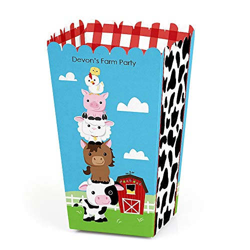 - Personalized Farm Animals - Custom Baby Shower or Birthday Party Favor Popcorn Treat Boxes - Custom Text - Set of 12