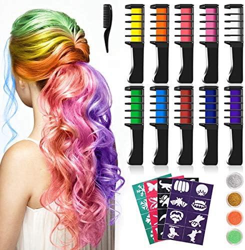Tizas Para el Pelo, Kastiny 10 Colors no Tóxico Temporales de Cabello Tinte, con 32 plantillas de tatuajes &4 brillos Peines de Tiza de Colores para ...