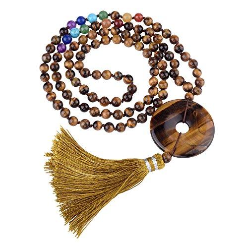 JOVIVI 6mm Tiger Eye Gemstones 108 Buddhist Prayer Beads 7 Chakra Multilayer Mala Beads Donut Tassel Bracelet Necklace (Purple Necklace Gemstone Jade)