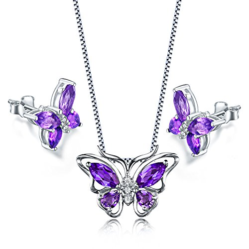 Aurora Tears Butterfly Jewelry Set Purple Created Amethyst Necklace Earrings for Women DS0035W