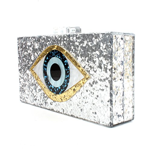 Silver Acrylic Clutch Bags Glitter Purse Perspex Bag Handbags for Women (SILVER)