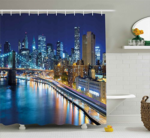 Harbour Lights New York - Ambesonne Landscape Shower Curtain, View of New York City Manhattan Bay Harbour at Night with Lights and Skyscrapers, Fabric Bathroom Decor Set with Hooks, 75 Inches Long, Multicolor