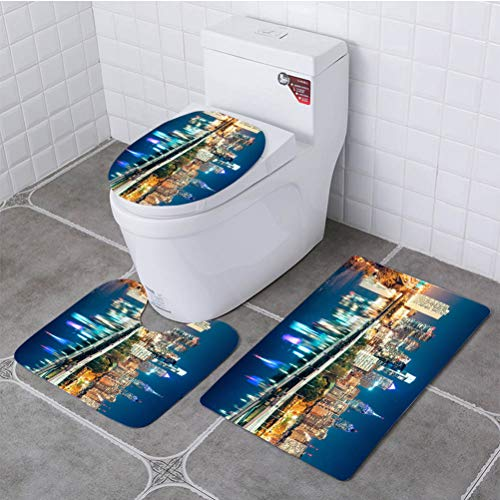(BEISISS Bathroom Printing 3 Piece Toilet seat Cover and Rug Set,Soft Flannel,Non-Slip, Philadelphia Skyline at Dusk)