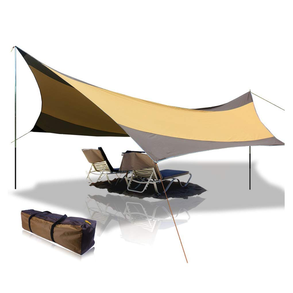 BaiYouDa Beach Tent Tarp 18x18 ft 5-8 Person Lightweight Shelter Sun Shade Awning Canopy with Tarp Poles, Ripstop Portable Waterproof Sun-Proof for Camping Hiking Fishing Picnic (Brown) by BaiYouDa