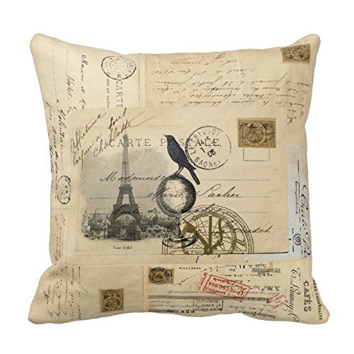Decorative Cotton 18 X 18 Twin Sides Paris Crow Globe French Postcard Pillowcase