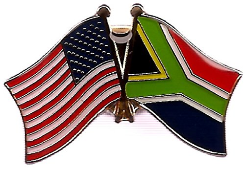Pack of 3 South Africa & US Crossed Double Flag Lapel Pins, South African & American Friendship Pin Badge