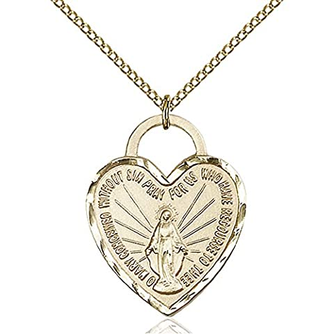 Gold Filled Miraculous Heart Pendant 1 x 3/4 inches with Gold Filled Lite Curb Chain - Gold Heart Medal