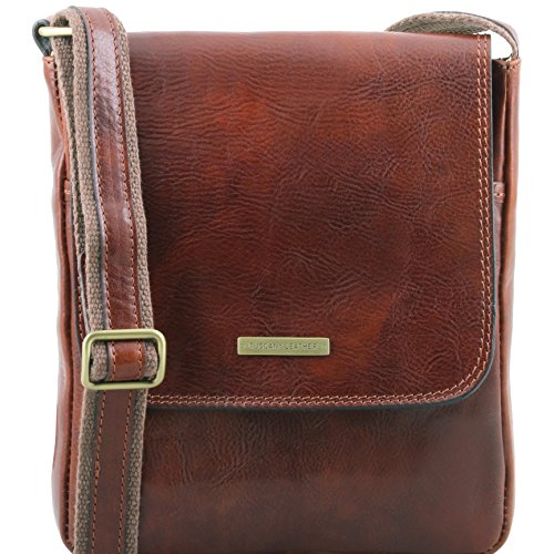 Tuscany Leather John Leather crossbody bag for men with front zip Brown by Tuscany Leather