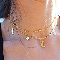 NEW Double-deck Star Moon Pattern Necklace Simple Style Short Gold Silver Chains