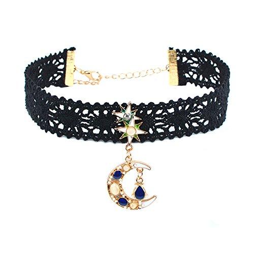 Child Choker - RareLove Black Lace Moon Choker Necklace with Pendant Dangle Star Opal For Women Girls 0.78