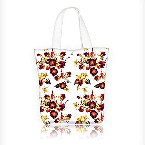 Canvas Zipper Tote Bag Printed Seamless Wallpaper with ative Design Print Yellow Burgundy Reusable Canvas Zipper Tote Bag Printed 100% Cotton W16.5xH14xD7 INCH (Camera Bag Chanel)